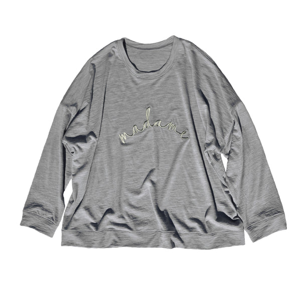 Ladies slouchy sweater in Grey Marle Merino jersey with Sage 'madame' embroidery on front