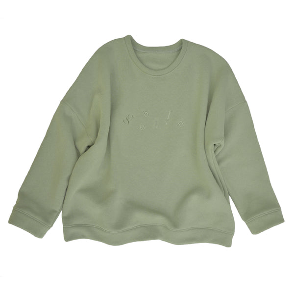 Ladies sweatshirt in Sage Green  French Terry with goblin logo embroidery