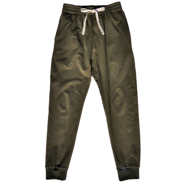Ladies tracksuit pant with pockets in Khaki Cotton/Elastane French Terry and ribbed cuffs.