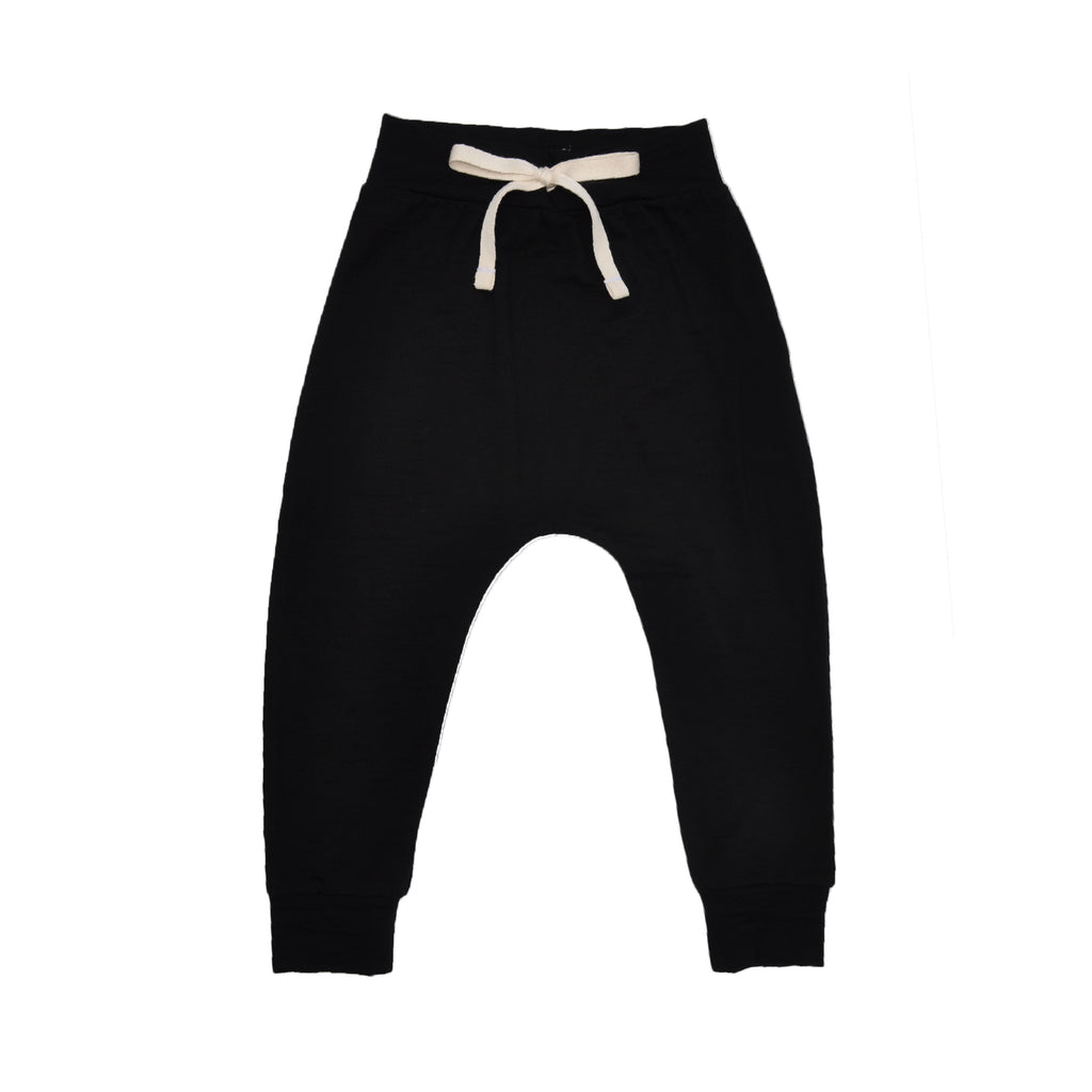 Classic slouch style pant in Black made 100% merino with folded stretchy waistband and natural cotton tie