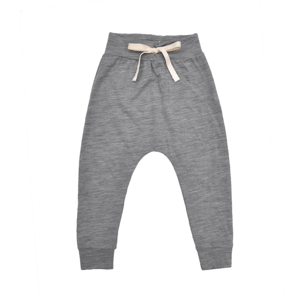 Classic slouch style pant in Grey Marle made 100% merino with folded stretchy waistband and natural cotton tie