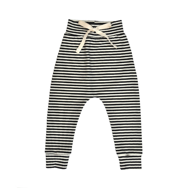 Slouch style pant in Black/Natural stripe made from Organic Cotton/Elastane jersey with stretchy folded waist and cotton tie at front.
