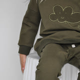 baby and child sweatshirt made from dark khaki french terry with cloud applique design