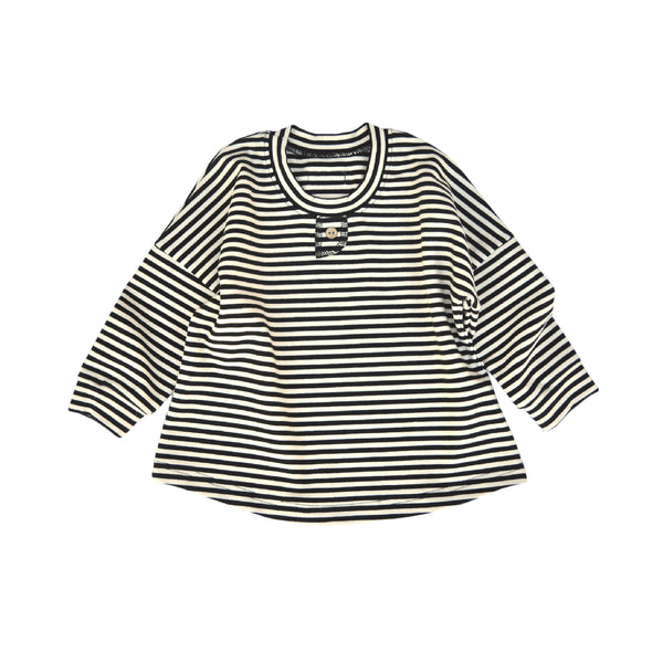 Black and Natural striped long sleeved tee made from Organic Cotton/Elastane jersey. Coconut button detail at front of neck.