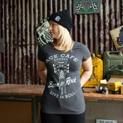 Red Torpedo Ace Cafe Rockin Roll (Ladies) Black T-Shirt