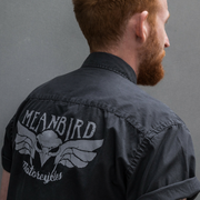 Mean Bird Motorcycles (Mens) Grey SS Shirt