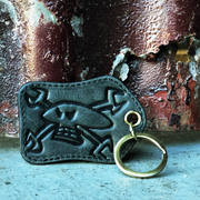 Spannerskull Black Leather Keyring