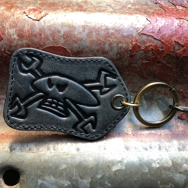 Red Torpedo Guy Martin Spannerskull Black Leather Keyring
