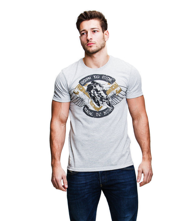 Made to Work (Mens) Grey Marl/Gold T-Shirt