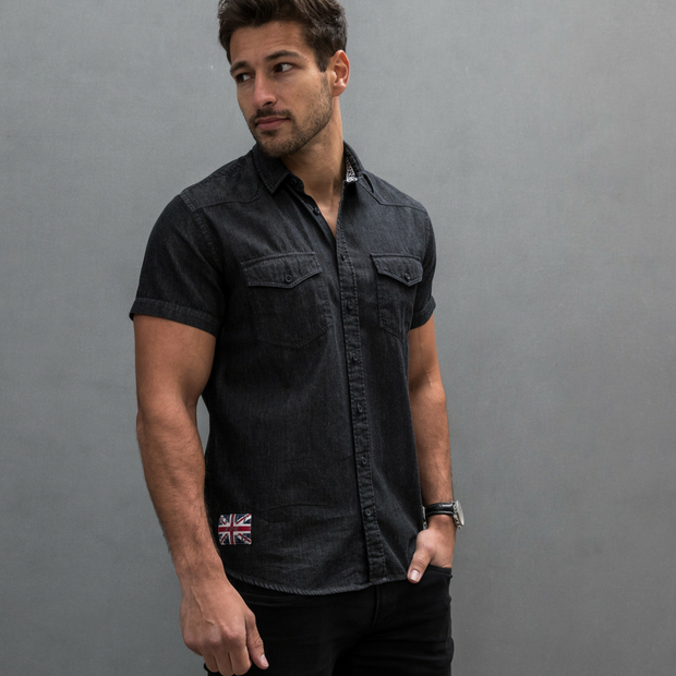 Ton Up Clothing (Mens) S/S Shirt Black Denim