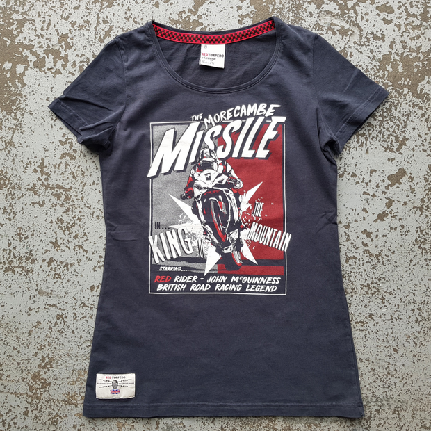 John McGuinness 'McMissile' (Ladies) Black T-Shirt