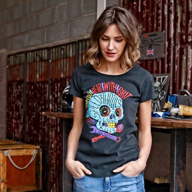 Red Torpedo Acid Punk (Ladies) Black T-Shirt