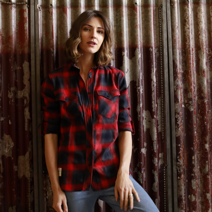 V Twin Red (Ladies) LS Check Shirt