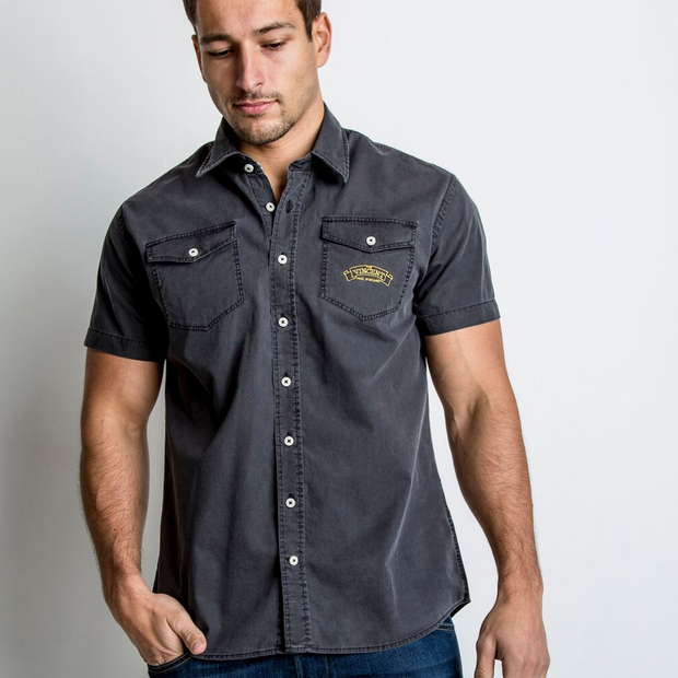 Vincent (Mens) Black Short Sleeve Shirt