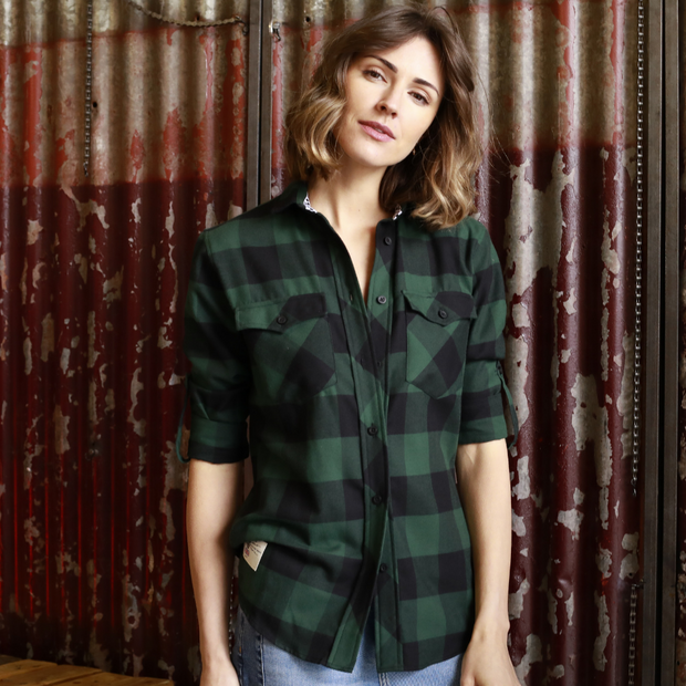 Red Torpedo V Twin Green (Ladies) LS Check Shirt