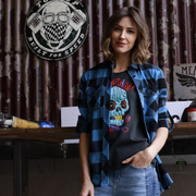 V Twin Blue (Ladies) LS Check Shirt