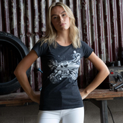 Red Torpedo Guy Martin Rough n Ready Blighty Edn (Ladies) Anthracite T-Shirt