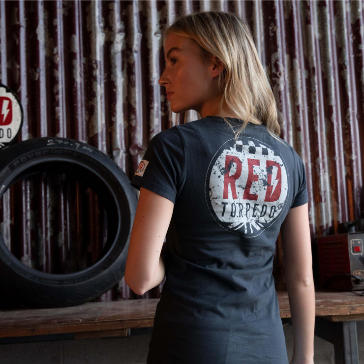 Red Torpedo Brand Punk (Ladies) Black T-Shirt