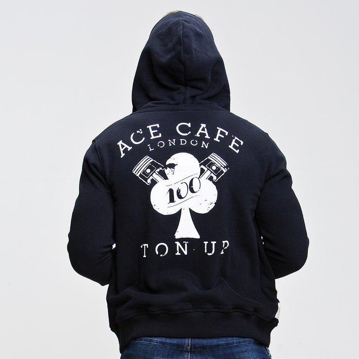 Red Torpedo Ace Cafe Ton Up (Mens) Black Zip Hoodie