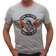 Born to ride Grey Marle T-Shirt