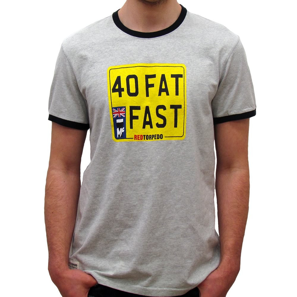 Forty Fat and Fast (Mens) Grey Marle John McGuinness T-Shirt
