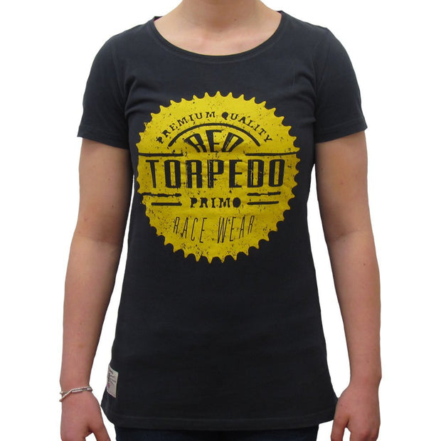 Race Sprocket (Womens) Black Primo T-Shirt