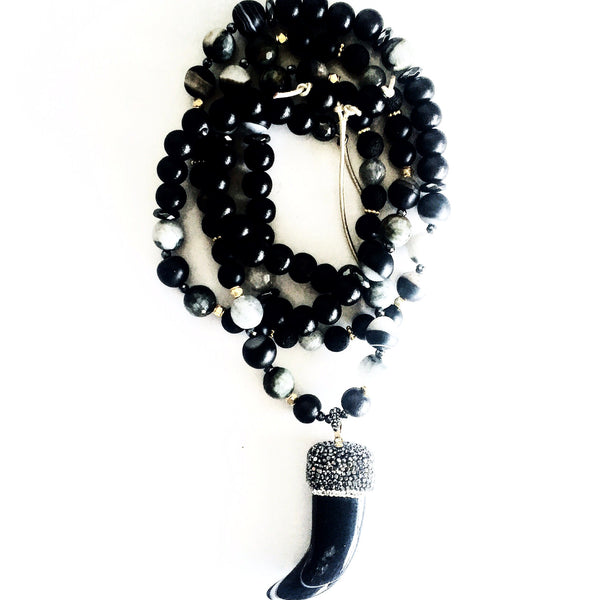 Onyx & Marcasite Tusk Custom Black & Grey Beaded Necklace