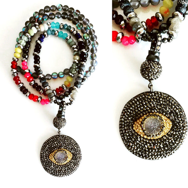 Multicolor Marcasite Eye & Drusy Custom Beaded Necklace