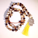 Silver Hamsa Yellow Tassel Resin Beaded Necklace
