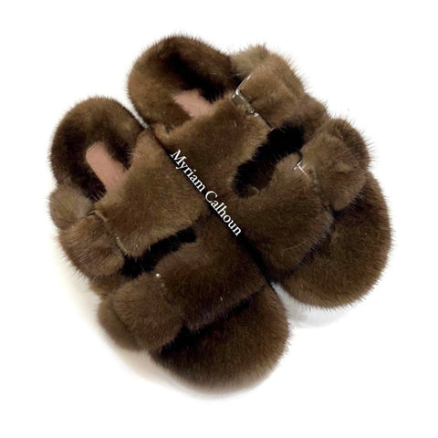 Chocolate Arizona Mink Slippers
