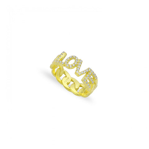 Pave LOVE Cuban Links Ring