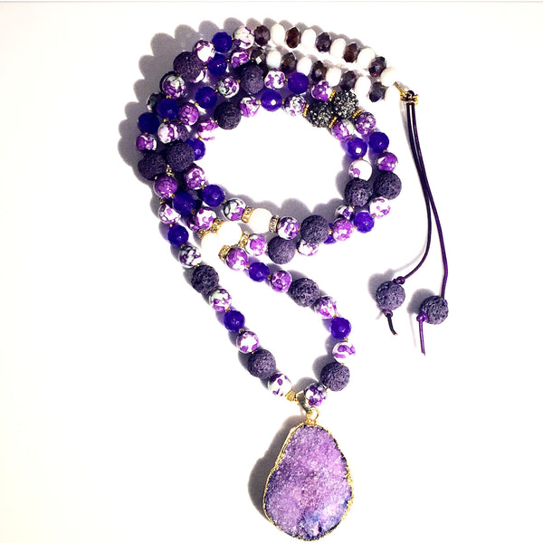 Purple Mix Drusy Necklace