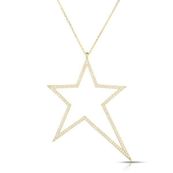 Outline Pave Star Necklace