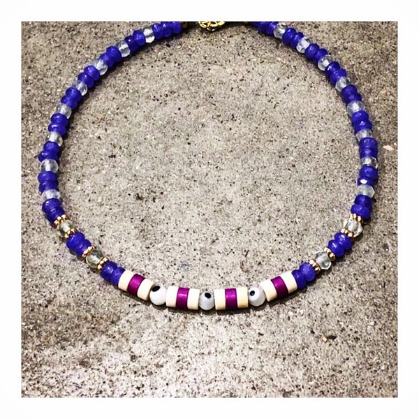 Protective Eyes Purple Agates Anklet