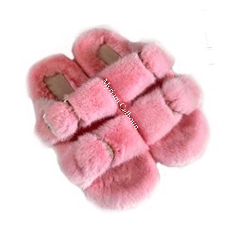 Baby Pink Arizona Mink Slippers