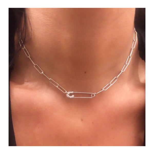 Silver Pave Safety Pin Link Chain Choker Necklace