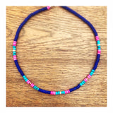 Blue & Pink Rondelles Custom Beaded Choker Necklace
