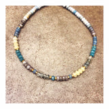 Blue & Yellow Pastels Mix Large Rondelles Custom Beaded Necklace