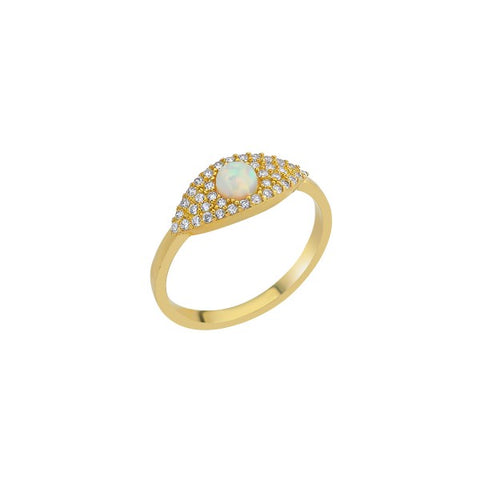 SALE Opal Center Pave Eye Adjustable Ring