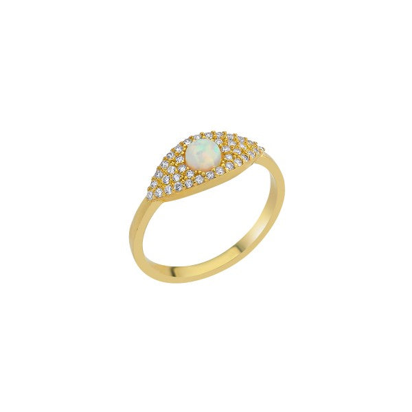 Opal Center Pave Eye Adjustable Ring