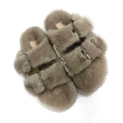Taupe Arizona Mink Slippers