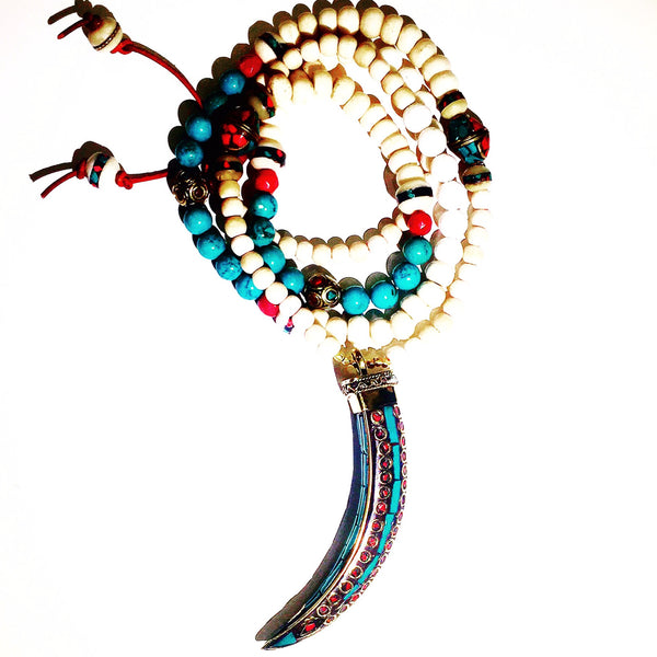 XL Gold Turquoise & Coral Tusk Custom Beaded Necklace