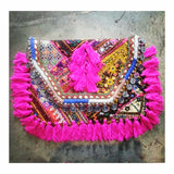 Ibiza Coins Fringed Patchwork Clutch