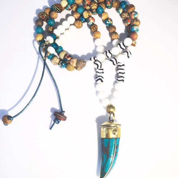 Turquoise and Gold Tusk Custom Beaded Necklace