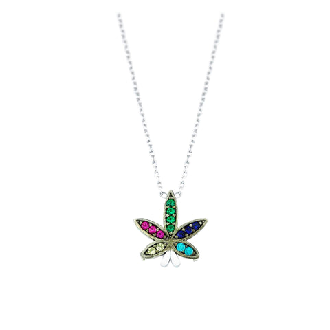 SALE Pave Sweet Leaf Necklace