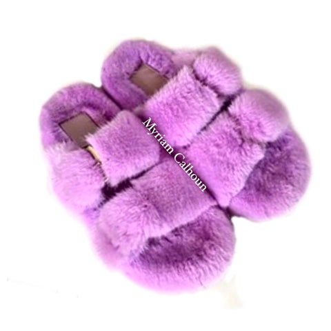 Periwinkle Arizona Mink Slippers