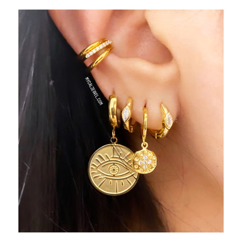Golden Eye Hoop Earring