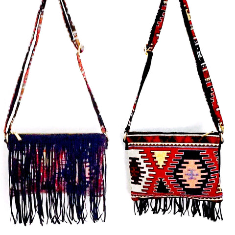 SALE Aztec Suede Blue Fringes Bag