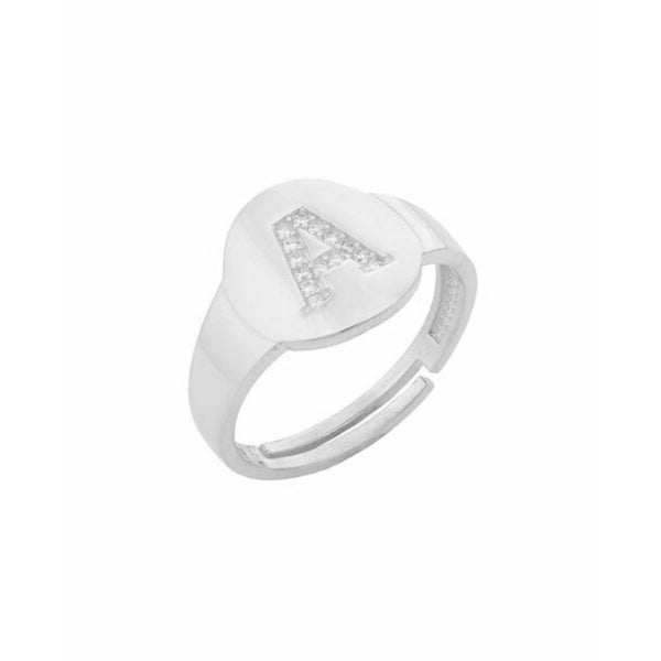 Adjustable Pave Initial Signet Ring