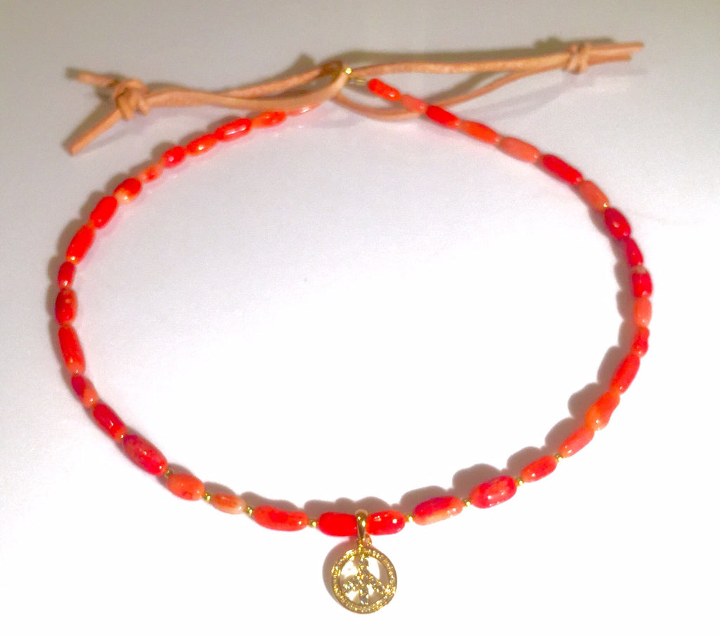 Gold Plated Pave Peace Sign Coral Custom Beaded Choker Necklace